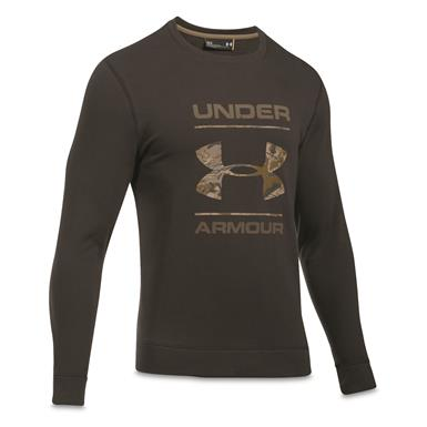 Under Armour Men's Threadborne Camo Fill Crew Shirt, Cannon/UA Barren Camo