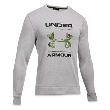 Under Armour Men's Threadborne Camo Fill Crew Shirt, True Gray Heather/UA Forest Camo