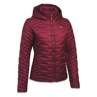 Under Armour Women's ColdGear Reactor Insulated Hooded Jacket, Black Currant/Raisin Red