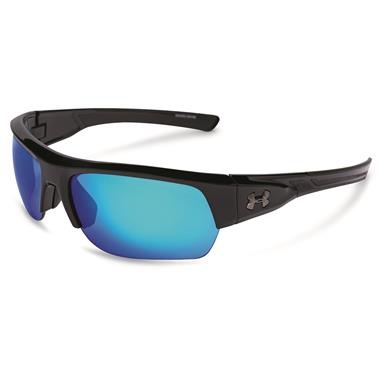 Under Armour Men's Big Shot Polarized Sunglasses, Black/Blue