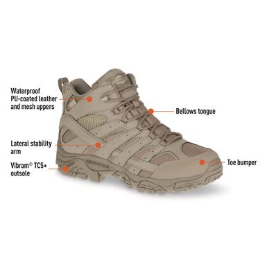 Merrell Moab 2 Men's Mid Waterproof Tactical Boots, Brindle