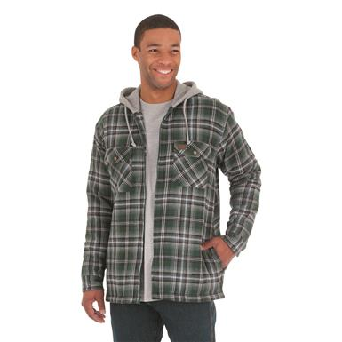 Wrangler RIGGS WORKWEAR Men's Flannel Hooded Jacket, Evergreen