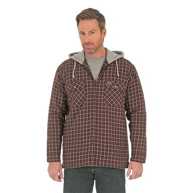Wrangler RIGGS WORKWEAR Men's Flannel Hooded Jacket, Maroon