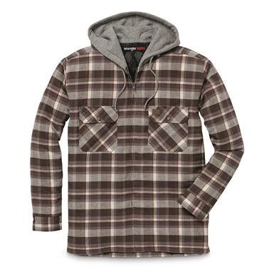 Wrangler RIGGS WORKWEAR Men's Flannel Hooded Jacket, Charcoal