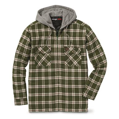 Wrangler RIGGS WORKWEAR Men's Flannel Hooded Jacket, Olive Green