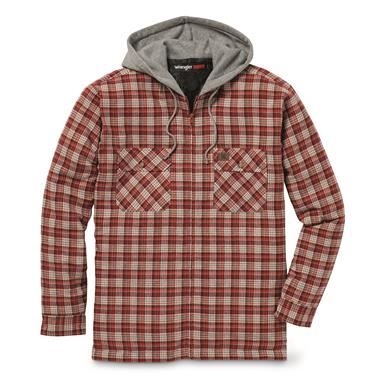 Wrangler RIGGS WORKWEAR Men's Flannel Hooded Jacket, Rust