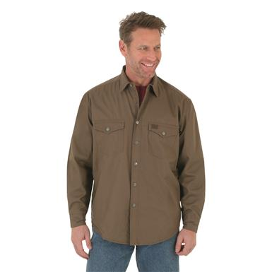 Wrangler RIGGS Workwear Men's Flannel Lined Ripstop Shirt, Bark