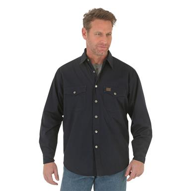 Wrangler RIGGS Workwear Men's Flannel Lined Ripstop Shirt, Midnight Blue