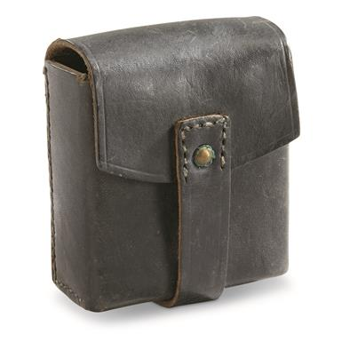 Italian Military Surplus Leather Cartridge Pouch, Used