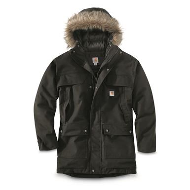 Carhartt Men's Quick Duck Sawtooth Waterproof Insulated Parka, Black