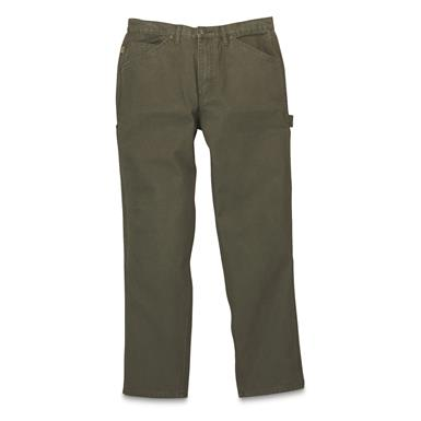 Gravel Gear Men's Duck Carpenter Work Pants, Moss