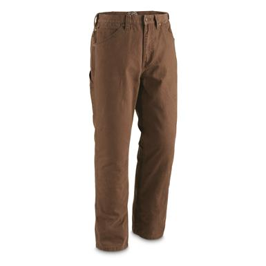 Gravel Gear Men's Duck Carpenter Work Pants, Dark Brown