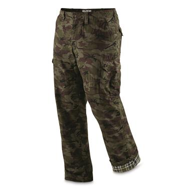 Guide Gear Men's Flannel Lined Cargo Pants, Woodland Camo