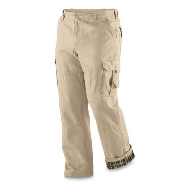 Guide Gear Men's Flannel Lined Cargo Pants, Khaki