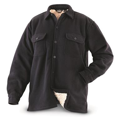 Guide Gear Men's Sherpa Lined Fleece CPO Shirt, Black