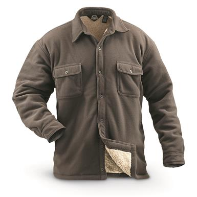 Guide Gear Men's Sherpa Lined Fleece CPO Shirt, Taupe