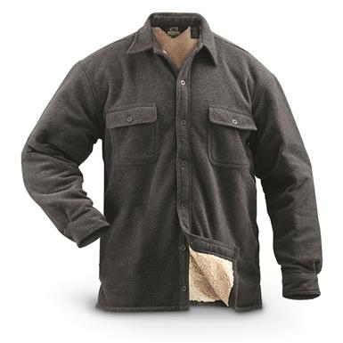 Guide Gear Men's Sherpa Lined Fleece CPO Shirt, Charcoal