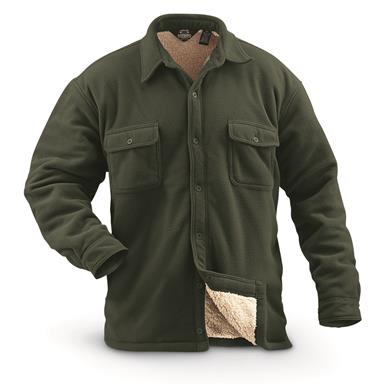 Guide Gear Men's Sherpa Lined Fleece CPO Shirt, Hunter Green