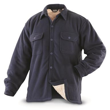 Guide Gear Men's Sherpa Lined Fleece CPO Shirt, Navy