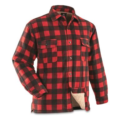 Guide Gear Men's Sherpa Lined Fleece CPO Shirt, Red/Black Buffalo Plaid