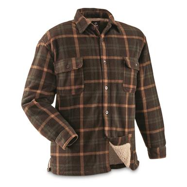 Guide Gear Men's Sherpa Lined Fleece CPO Shirt, Olive/Brown Plaid