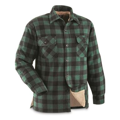 Guide Gear Men's Sherpa Lined Fleece CPO Shirt, Green/Black Buffalo Plaid