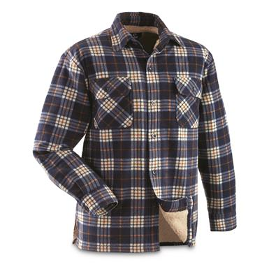Guide Gear Men's Sherpa Lined Fleece CPO Shirt, Navy/Brown Plaid