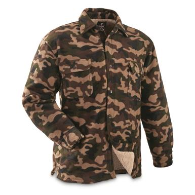 Guide Gear Men's Sherpa Lined Fleece CPO Shirt, Woodland Camo