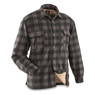 Guide Gear Men's Sherpa Lined Fleece CPO Shirt, Black Plaid
