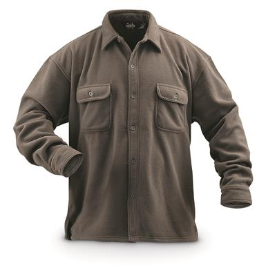 Guide Gear Men's Fleece CPO Shirt, Taupe