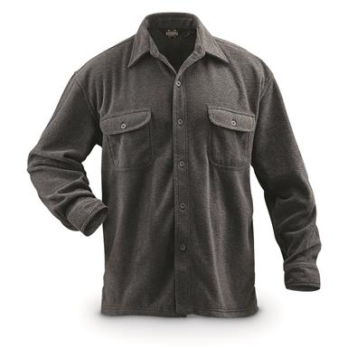 Guide Gear Men's Fleece CPO Shirt, Charcoal