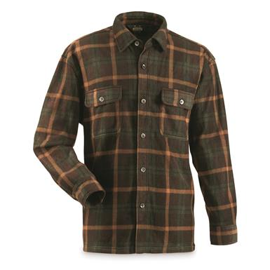 Guide Gear Men's Fleece CPO Shirt, Olive/Brown Plaid
