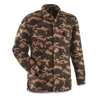 Guide Gear Men's Fleece CPO Shirt, Woodland Camo