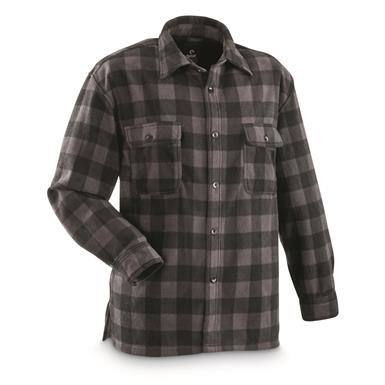 Guide Gear Men's Fleece CPO Shirt, Black Plaid