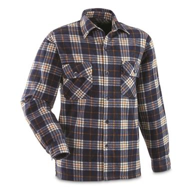 Guide Gear Men's Fleece CPO Shirt, Navy/Brown Plaid