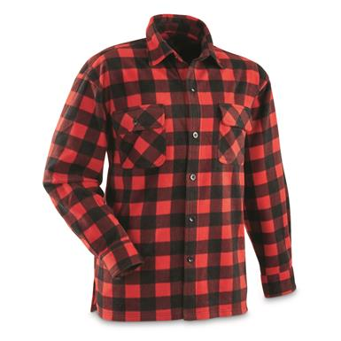Guide Gear Men's Fleece CPO Shirt, Red/Black Buffalo Plaid