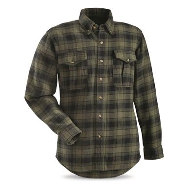 Guide Gear Men's Plaid Chamois Shirt, Olive/Black Plaid