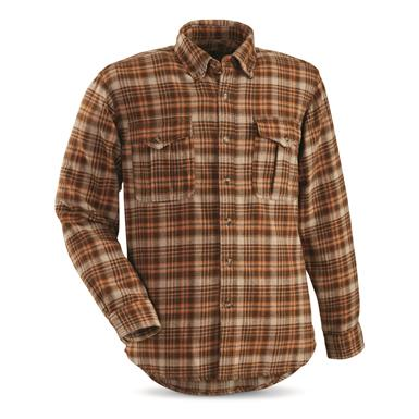 Guide Gear Men's Plaid Chamois Shirt, Khaki/Orange Plaid