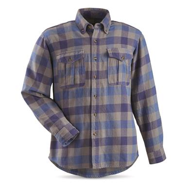 Guide Gear Men's Plaid Chamois Shirt, Grey/Blue Plaid