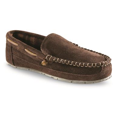 Guide Gear Suede Moc Slippers, Chocolate Brown