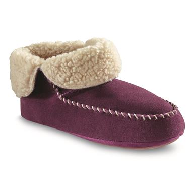 Guide Gear Women's Sherpa Lined Bootie Slippers, Burgundy