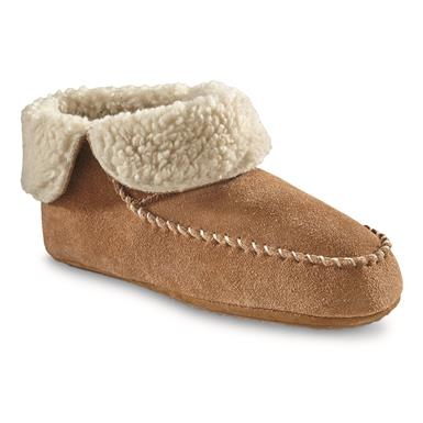 Guide Gear Women's Sherpa Lined Bootie Slippers, Cognac