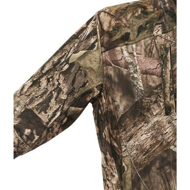 3-layer Whist W3 windproof/waterproof/silent fleece fabric along sides, shoulders, and under arms, Mossy Oak Break-Up® COUNTRY™