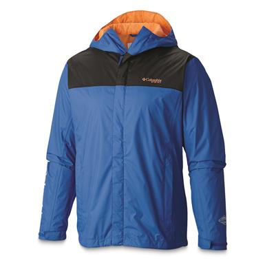 Columbia Men's PFG Storm Waterproof Jacket, Vivid Blue/Jupiter