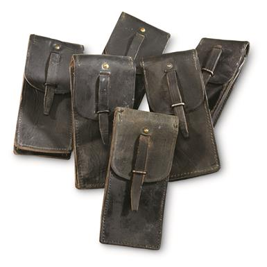 French Military Surplus Leather Mag Pouches, 6 Pack, Used