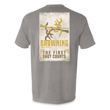 Browning Men's First Shot Counts Tee Shirt, Titanium/Yellow
