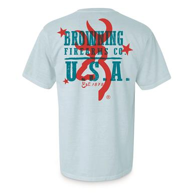 Browning Men's Red and Blue Firearms Tee Shirt, Chambray