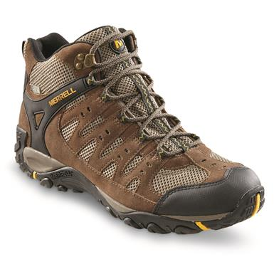 Merrell Men's Accentor Mid Waterproof Hiking Boots, Merrell Stone/Old Gold