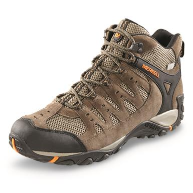 Merrell Men's Accentor Mid Waterproof Hiking Boots, Boulder/Orange Peel