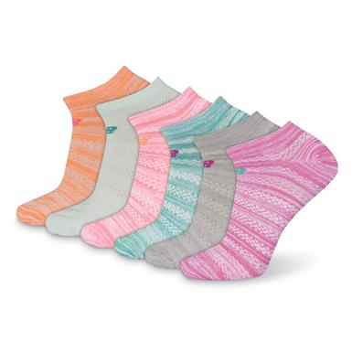New Balance Women's Flat Knit No Show Socks, 6 Pairs, Multi Color